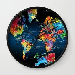 World Map Black - 2 Wall Clock