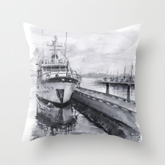 Kirkland Marina Waterfront Boat Watercolor Seattle Throw Pillow