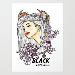 Black Eyes Japan Art Print