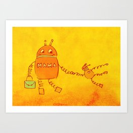 Robomama Robot Mother And Child Art Print