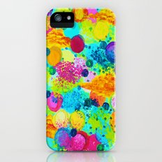 TIME FOR BUBBLY - Colorful Bright Bold Abstract Acrylic Painting, Turquoise Royal Blue Magenta iPhone (5, 5s) Slim Case