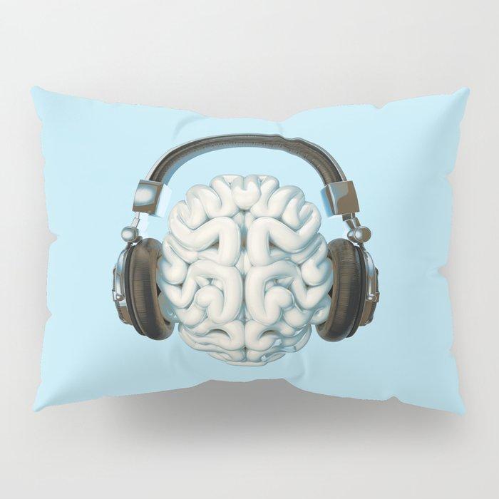 Mind Music Connection /3D render of human brain wearing headphones Pillow Sham