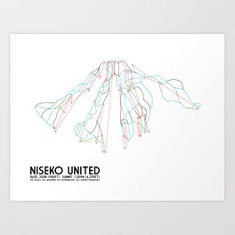 Niseko United, Japan - North American Edition - Minimalist Trail Art Art Print