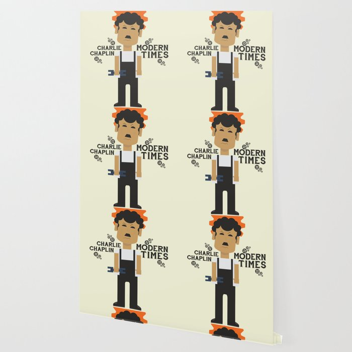 Modern Times, Charlie Chaplin, minimal movie poster, classic film, Charlot playbill Wallpaper