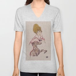 """Egon Schiele """"Edith Schiele mit Windhund"""" Unisex V-Neck"""