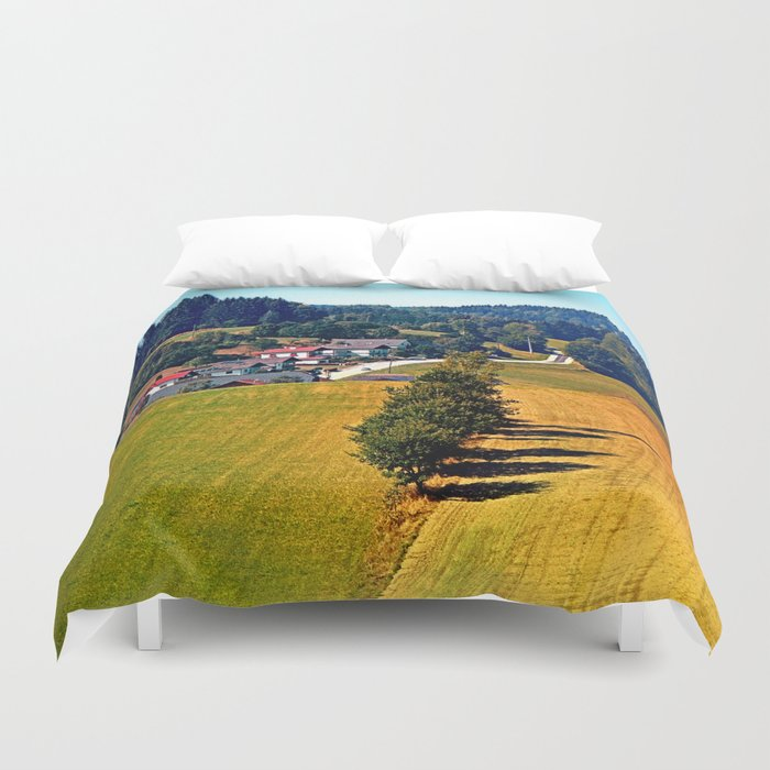 A village, some trees, and more boring scenery Duvet Cover