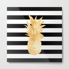 Gold Pineapple Black and White Stripes Metal Print