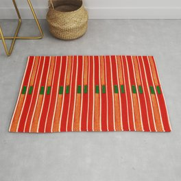 Red Strings Japanese Shima-Shima Pattern Rug