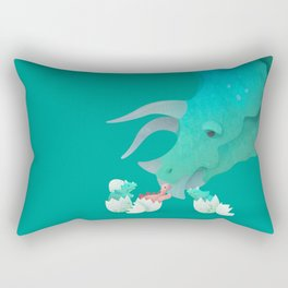 Triceratops Hugs by Ballsy Creative Rectangular Pillow