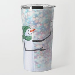 snowman and snowy owl Travel Mug