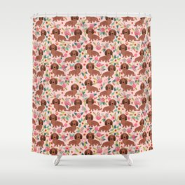 Long Haired Dachshund red coat pet friendly must have gifts for home dog lover Shower Curtain