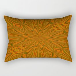 Autumnal Leaves Red Green and Amber Abstract Kaleidoscope Rectangular Pillow