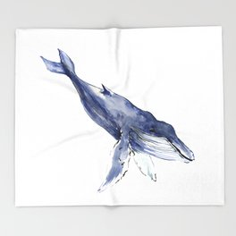 Humpback Whale, swimming whale decor Throw Blanket