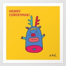 Rudolph pig Art Print