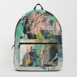 Connect: a vibrant acrylic abstract in neon green, blues, pinks, & hints of orange Backpack