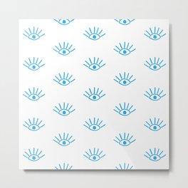 Blue Evil Eye Pattern Metal Print