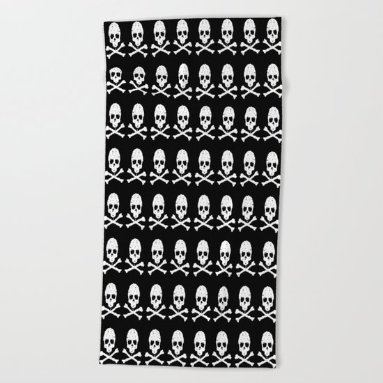 Skull and XBones in Black and White Beach Towel