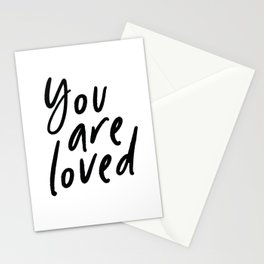 You Are Loved Print,Minimal, Nursery, Quote, Monochrome, Black And White, Art Stationery Cards