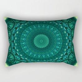 Mandala in bright and dark green tones Rectangular Pillow