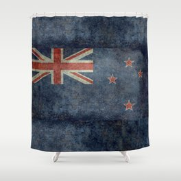 New Zealand Flag - Grungy retro style Shower Curtain