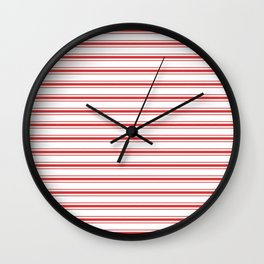 Mattress Ticking Wide Horizontal Striped Pattern in Red and White Wall Clock