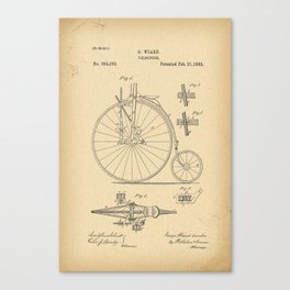 1882 Patent Bicycle Velocipede Canvas Print