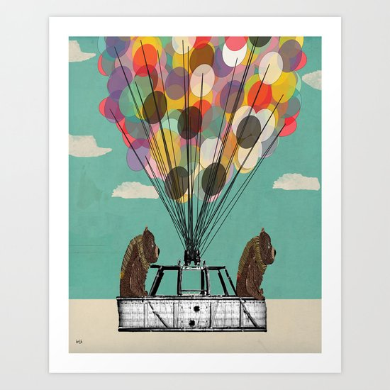 grizzly days lets go ballooning  Art Print