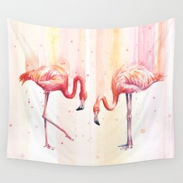 Two Flamingos Watercolor Tropical Birds Animals Wall Tapestry
