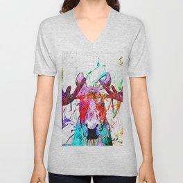 Moose Watercolor Grunge Unisex V-Neck