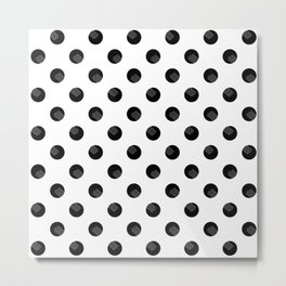 Black dots white lines Metal Print