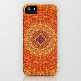 Red Burst Mandala 0118 iPhone Case