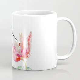 Little Hummingbird and Pink Flower, Bird art, minimalist bird painting, soft pink olive green design Coffee Mug
