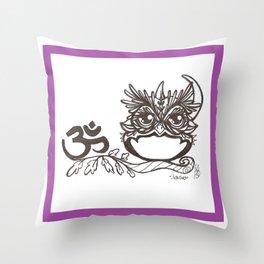 """Ohm"" JujuOwl- Seventh Chakra Throw Pillow"