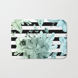 Succulents in the Garden Teal Blue Green Gradient with Black Stripes Bath Mat