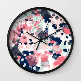 Lola - Painted abstract trendy color palette minimal decor nursery home Wall Clock