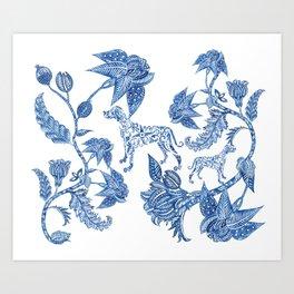 BLUE BATIK WEIMS Art Print
