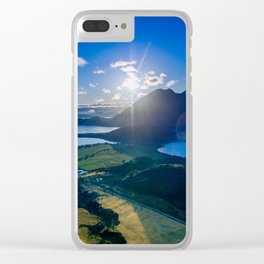 lake wanaka covered in blue colors new zealand beauty Clear iPhone Case