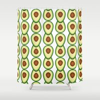 band Shower Curtains featuring avocado band by saustian