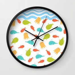 Cute Sea Life, Colorful Fishes and Waves Design Pattern, Cute Kids Art Wall Clock
