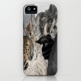 Bengal Cat Kitty Pile  iPhone Case
