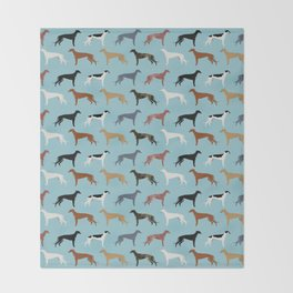 Greyhound Dog pet portrait dog lover must have gifts perfect christmas present for dog person Throw Blanket