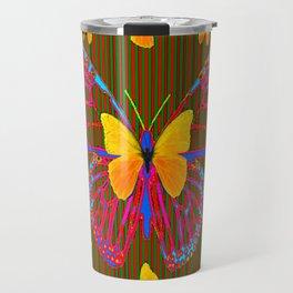 YELLOW BUTTERFLIES RED MODERN ART Travel Mug