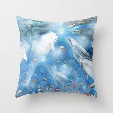 Where The Whales Meet Throw Pillow
