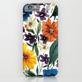 Spring Loose Watercolor Flowers iPhone Case