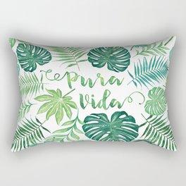 Tropical Pura Vida Palm Leaves and Monstera Watercolor Rectangular Pillow