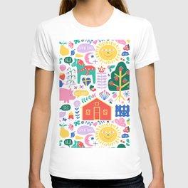 Happy Swedish Farm in White T-shirt