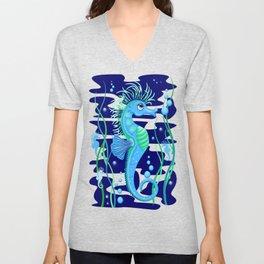 Seahorse cute blue sea animal Unisex V-Neck