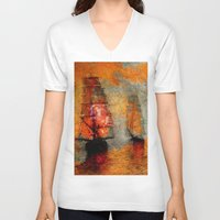 boats V-neck T-shirts featuring melancholic boats by Ganech joe