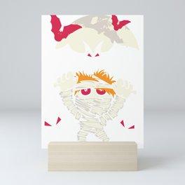 Funny Halloween Mummy Monster Moon Bats Mini Art Print