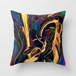 Blue Succulent Colorful Night, Black and Gold Rainbows Throw Pillow